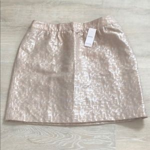 {LOFT} Embroidered Metallic Skirt With Pockets